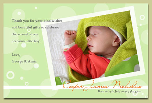 New Baby Gift Thank You Cards : How to choose the right colours for your invitation